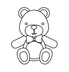 figure teddy bear with tie icon vector image vector image