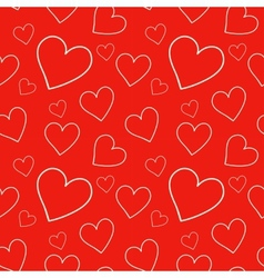 Red seamless pattern with hearts vector image vector image