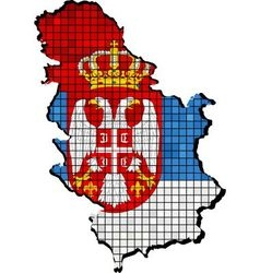 Serbia map with flag inside vector image vector image