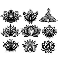 set of ornamental lotus flowers vector image vector image