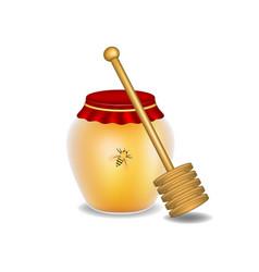 sweet honey honey bee and wooden honey dipper vector image