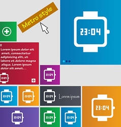 Wristwatch icon sign buttons modern interface vector