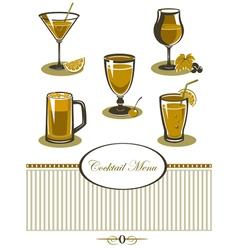 Drinks icons set orange menu vector image