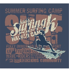 Hawaii surfing camp vector image vector image