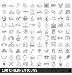 100 children icons set outline style vector