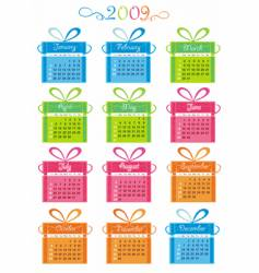 2009 calendar with presents vector image vector image