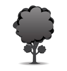 A stylized drawing of a tree Black-and-white vector image