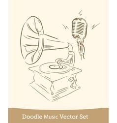 doodle music set isolated on white background vector image