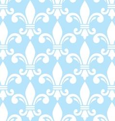 Fleur de lis white and blue semless pattern vector image