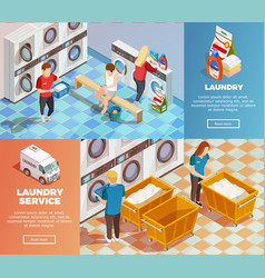 laundry isometric dry cleaning banners vector image