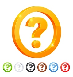 Set of 7 question symbol in different colors vector