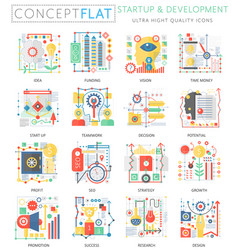 infographics mini concept startup and development vector image vector image