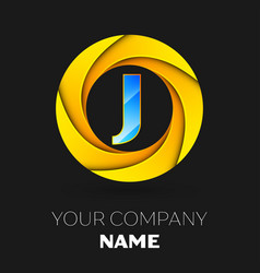 Letter j logo symbol in the colorful circle vector