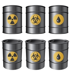 oil barrels set vector image vector image