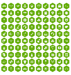 100 nursery icons hexagon green vector
