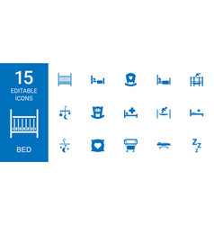 15 bed icons vector