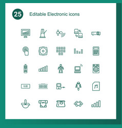 25 electronic icons vector image