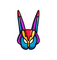 abstract colorful mask with long ears and bird vector image