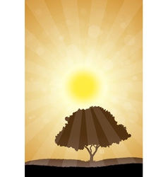 Amazing landscape with grass sun and tree vector