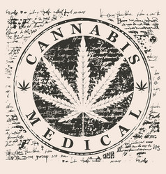 banner for medical marijuana with cannabis leaf vector image