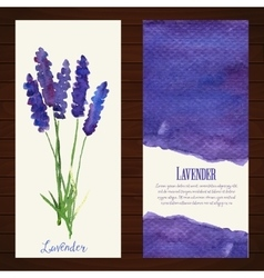 Banners with watercolor lavender vector
