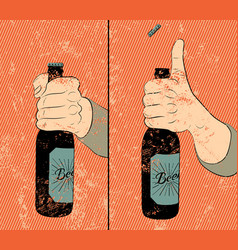 Beer bottle instruction vintage grunge poster vector