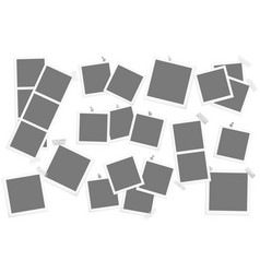 big set retro square photo frames on sticky vector image