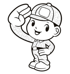 Black and white soldier mascot salute isolated on vector