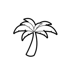 Black thick contour of palm tree vector