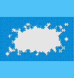 blue background puzzle jigsaw puzzle frame vector image