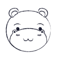 Blurred silhouette cute face of hippo tranquility vector
