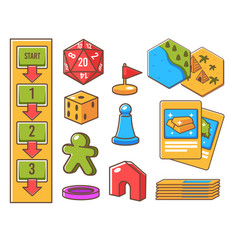 board game elements flags and cards for playing vector image