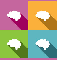 brain icon with shade on different colors vector image