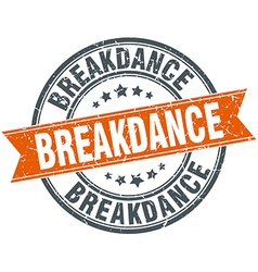 Breakdance round orange grungy vintage isolated vector
