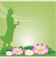 Buddha statue and lotus of thai tradition visakha vector