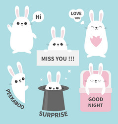 Bunny rabbit sticker emotion emoji icon set miss vector