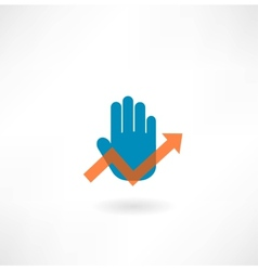 Businessman hand and graphs vector