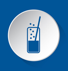 Carbonated drink straw - blue icon white button vector