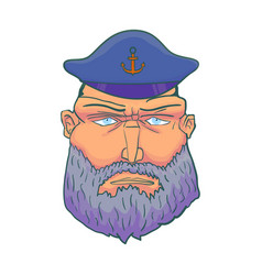 cartoon captain sailor face with beard and cap vector image