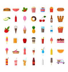 cartoon color wagon track summer food icon set vector image