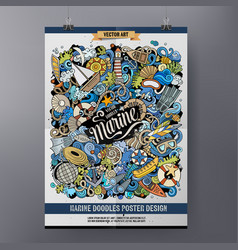 cartoon colorful hand drawn doodles marine poster vector image