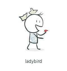 Cartoon girl and ladybird vector image