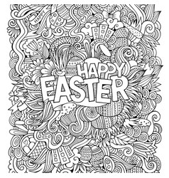 cartoon hand-drawn doodles happy easter background vector image
