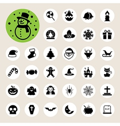 Christmas Halloween icon set vector