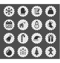 christmas simply icons vector image
