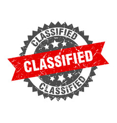 Classified grunge stamp with red band classified vector