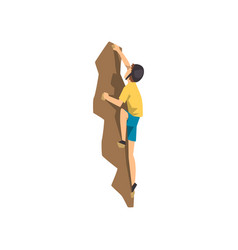 climber in protective helmet climbing rock wall vector image