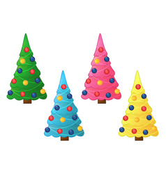 collection of christmas trees colorful christmas vector image