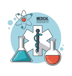 color poster medical research with symbol star of vector image
