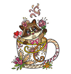 Colored kawaii cute racoon in a cup vector